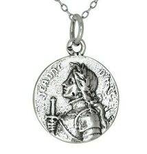 Sterling Silver 925 Jeanne d' Arc Joan of Arc Medal Charm Pendant | Made in USA