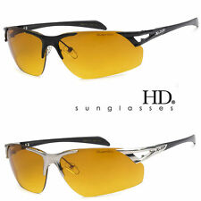 SPORT WRAP HD NIGHT DRIVING VISION SUNGLASSES METAL FRM HIGH DEFINITION GLASSES