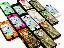 3 LAYER CAMO HYBRID RUGGED CASE FOR APPLE iPHONE 5C & BUILT IN SCREEN PROTECTOR