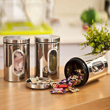 Stainless Steel Storage Canister Window Jar Stackable Bottle Box Set Tea Coffee