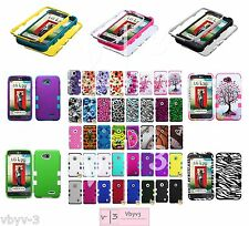 TUFF Hybrid Armor Case Skin Design Hard Rubber Rugged Cover For LG REALM LS620