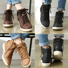 Wedge Hidden Heel Trainers Sneakers Ankle Boots Hi Top Lace Zip Girls women's