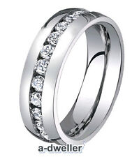Titanium Mens & Women Polished Diamond Wedding Band 8mm Ring size 7 to 14