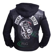 Sons of Anarchy SOA Reaper Highway Fleece Zip Up Hoodie Leather Jacket ALL SIZES
