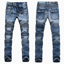 Men France Style Distressed Motorcycle Biker Light Blue JEANS B#T1378 size 28-38