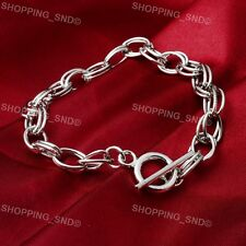 Lots Wholesale Toggle Clasp Silver Charm Rolo Bracelets Double Oval Link Chain