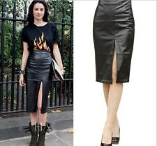 2014 Black Side Split Women PU Faux Leather Skirts Midi Pencil Skirt with Lace