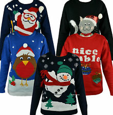 3D Womens Novelty Christmas Knitted Jumper Sweater Xmas Red Pullover Primark UK