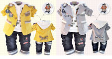 Hot Sale New Handsome Fall Baby Boy Clothes 3PCS Suit+Tshirt+Pants Outfits 1-4T