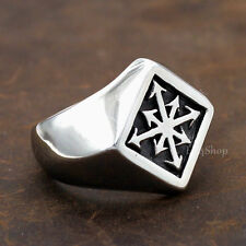 Men's Punk Symbol of Chaos Star Signet Magic Magick Alchemy Stainless Steel Ring