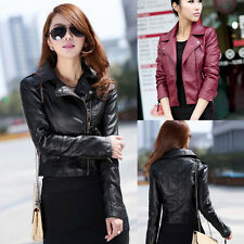 Fashion Womens Synthetic Leather Jacket Short Slim Coat Motorcycle Outwear New S