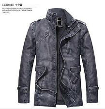 New Men's coat collar motorcycles leather jacket trench coat velvet jacket Jacke