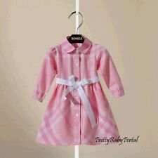 NEW GIRLS Kid's Clothes Classic Pink Plaid Belt Long Sleeve Dress