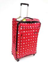 """*ULTRALIGHT*  LARGE TROLLEY SUITCASE -RED/WHITE SPOTS - 31"""" -  4 WHEELERS"""