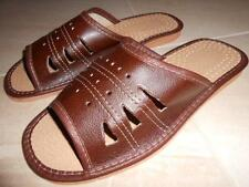 Mens Real Sheep Leather Slippers Shoes Sandal Handmade From Poland Brown New