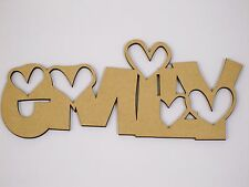 Personalised Custom MDF Craft Wood Wooden Name Plaque Sign Wedding Shape Heart