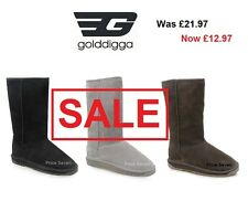 golddigga  Womens LEATHER Black/Chocolate/Grey Fur Tall Boots *NEW Mix sizes