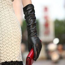 Womens Genuine Nappa Leather Ruched Elbow Long Lined Gloves 3 Color On Sale #012