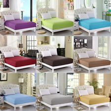 SOLID COLOR FITTED SHEET QUEEN 100% COTTON 10 COLORS BED SHEET