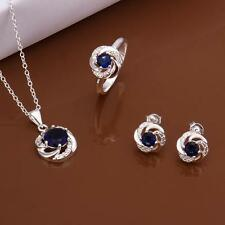 Beautiful Sapphire 925 Solid Sterling Silver Jewelry Set Valentine's day gifts