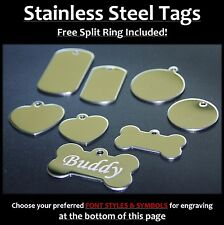 Stainless Steel Pet Tags With FREE Post & Engraving for Dog Cat Pets Army