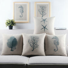 Blue Sea Ocean Fan Coral Cotton Decorative Pillow Case Slip Cover Mediterranean