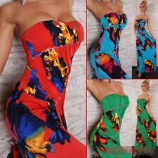 NEW SIZE 8-10 SEXY WOMENS CASUAL EVENING HOT LONG MAXI FLORAL STRAPLESS DRESS