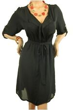 DEALZONE Beautiful V Neckline Dress Women Plus Size Black Casual