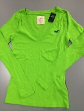 NWT New Womens Hollister HCO T Shirt Green Size S M Long Sleeve Shirt V Neck