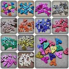 15 x 2-Hole Wooden Buttons - Heart - 18mm-22mm - Various Colours Available