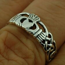 Claddagh Silver band Mens Silver Ring, Mix-US-Sizes, Plain Solid Silver, rp686