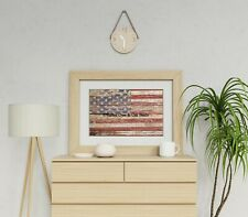 New Americana Rustic Flag Original Signed Matted Picture Fine Art Print A643