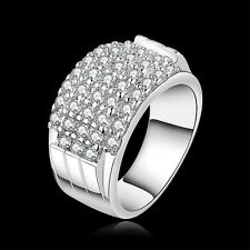 Women 925 Silver Filled Austrian Crystal Ring Jewelry Mothers' Day Gift Size 7 8