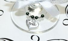 Wedding Wine Glass Charms -Top Table - Emerald  - Choice of Charms/Colours