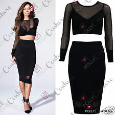 Womens Bodycon Mesh Crop Top and Sheer Skirt 2 Two Piece Black Dress Outfit Set