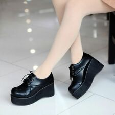 Vintage Punk Round Toe Ladies Platform Wedge Heels Lace Up Creeper Goth Shoes