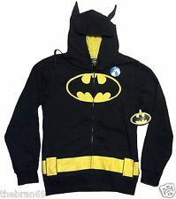 D.C Comics: Batman 'The Bat-Suit' Zip-Up Costume Hoodie w/ Ears {Size: S-2XL}