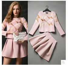 Womens European Style Geometric Embroidery Top + Pleated Mini Dress Suit