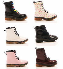 GIRLS KIDS DOC ANKLE BOOTS LACE UP COMBAT MILITARY FLORAL FASHION SHOES SIZE