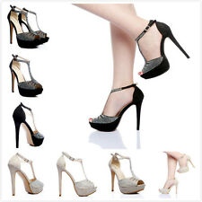 New Womens Shoes Rhinestone Open Toe Ankle Strap Sandals High Heels