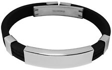 Custom Engraved Men's ID Bracelet rubber & stainless steel with gift pouch - YC
