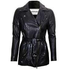 VIPARO Black Lightweight Lambskin Leather Quilted Biker Coat - Avery