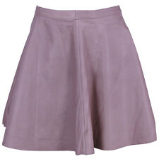VIPARO Lilac Lambskin Waist Pleated Leather Skater Skirt - Lola