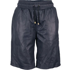 VIPARO Navy Blue Lambskin Leather Shorts - Westbrook
