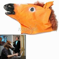 Realistic Adult Horse Head Face Mask Animal Costume Prop Halloween Cosplay Latex