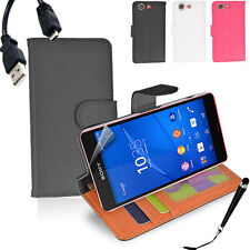 Wallet Money Card Case Cover Sony Xperia Z3 Compact + SP & Stylus & Cable