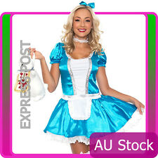 Ladies Alice In Wonderland Fancy Dress Halloween Ful Outfit Disney Theme Costume