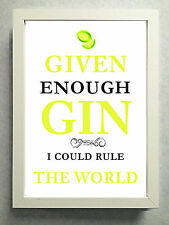 """Striking Typographical """"Gin Rule the World"""" Sign Male / Female Next Day Post"""