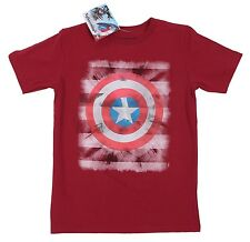 Marvel Comics Mad Engine Captain America Burgundy Tee 100% Cotton T-Shirt