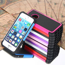 For iPhone 5 5S Black Rugged Rubber Matte Heavy Duty Hybrid Hard Case Cover
